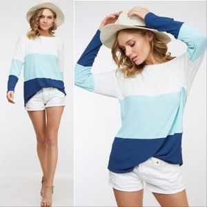 Top Color Block Top White and Blue - Laura